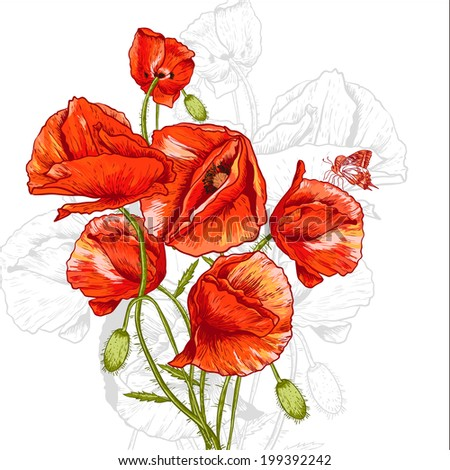 Vintage Floral Background with Poppies Invitation Card Design with Poppy. Vector Design element.  - stock vector