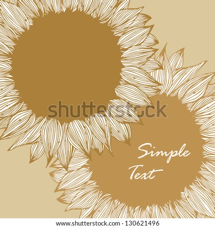 Vintage floral background with sunflowers. Retro style drawn card with flowers