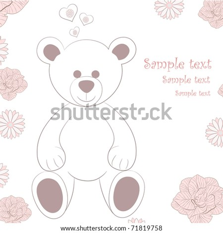 Vintage floral background with teddy bear. - stock vector