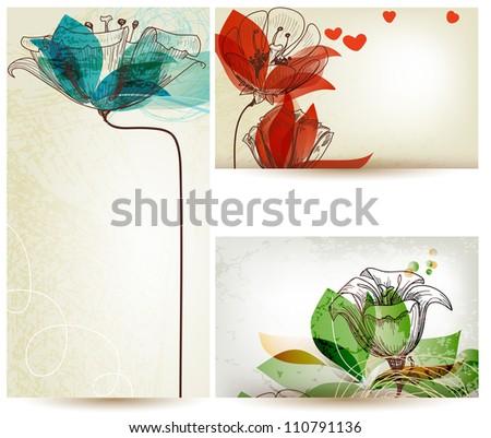 Vintage floral backgrounds - stock vector