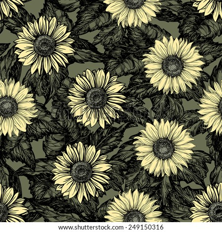 Vintage floral backgrounds. Vector ornate seamless  patterns with Sunflowers at color engraving style   - stock vector