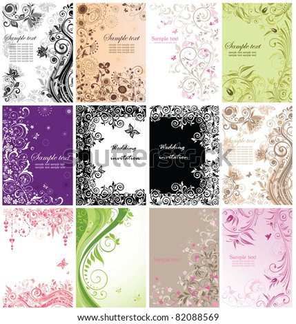 Vintage floral banners - stock vector