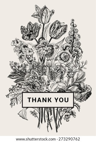 Vintage floral card. Victorian bouquet. Black and white peonies, mallow, delphinium, roses, tulips, violets, petunia. Thank you. Vector illustration. Monochrome. - stock vector