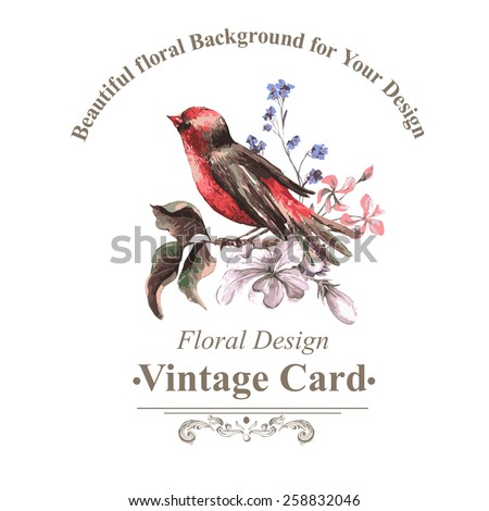 Vintage Floral Card with Bird on Branch, vector watercolor illustration - stock vector