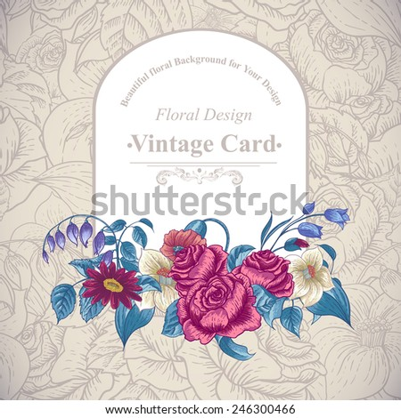 Vintage floral card with roses and wild flowers, vector illustration
