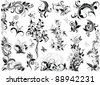 Vintage floral design elements - stock vector