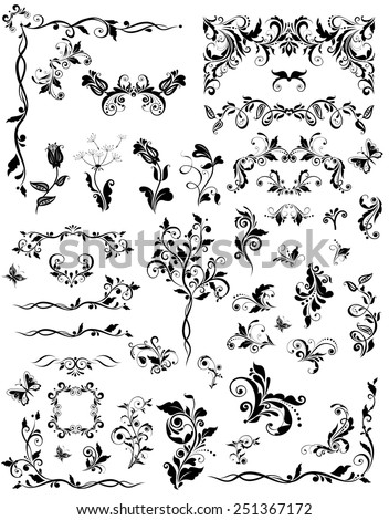 Vintage floral design elements (black and white) - stock vector