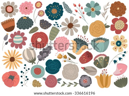 Vintage Floral Design Elements Vector - stock vector