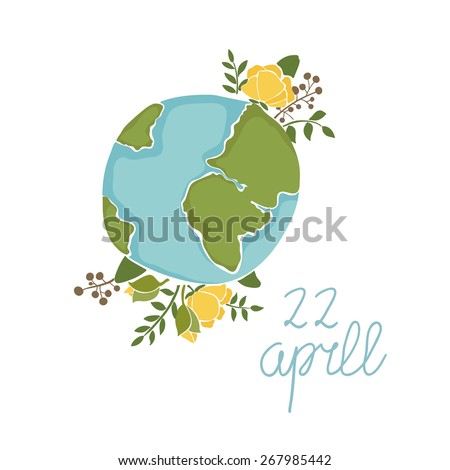Vintage floral Earth Day card - stock vector