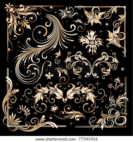 Vintage floral elements, ornament frames and gold flourishes - stock vector