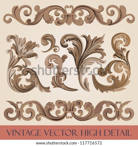 Vintage floral elements pack. Flourish ornament border. High detail vector. Royal style ornate. - stock vector