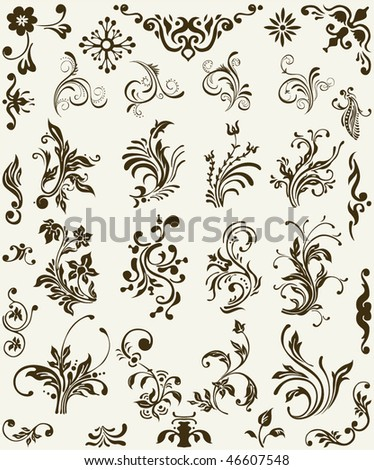 Vintage floral elements, scroll ornament - stock vector