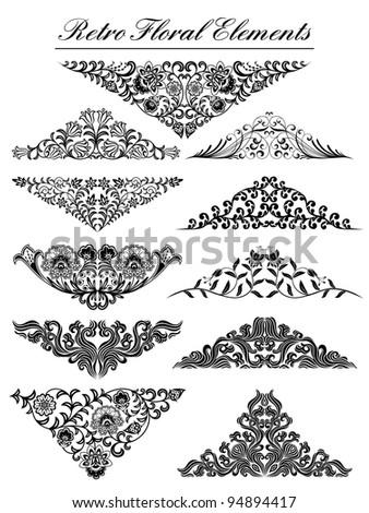 Vintage floral elements. Vector illustration. - stock vector
