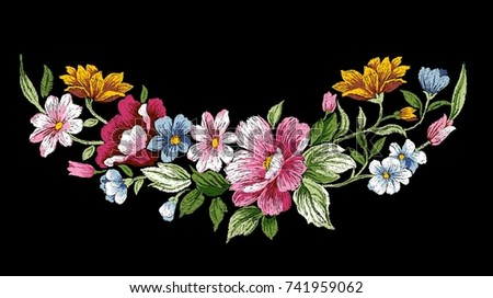 vintage floral embroidery design, flower vector illustration