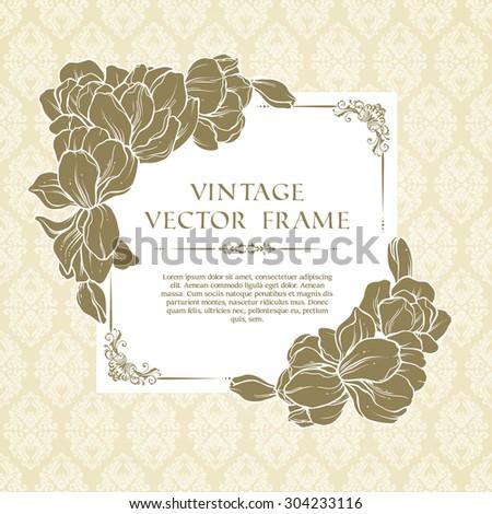 Vintage floral frame and patterned background. Spring flowers wedding invitation design in beige colors, greeting card, elegant lace ornate vector template - stock vector