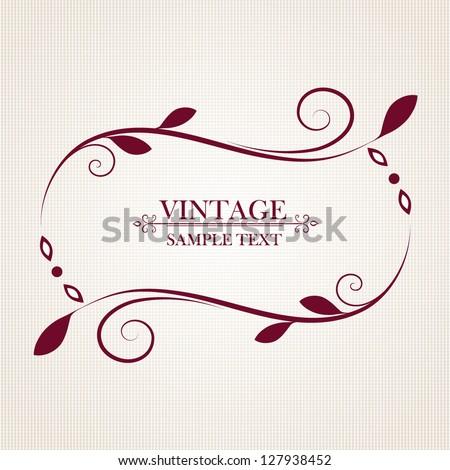 Vintage floral frame. Element for design. - stock vector