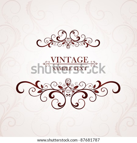 Vintage floral frame. Element for design. - stock vector