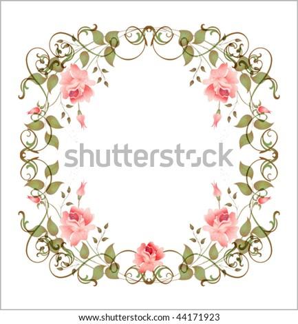 vintage floral frame EPS 10 - stock vector