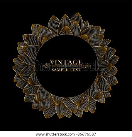 Vintage floral frame in shape of flower dahlia.  Element for design. - stock vector