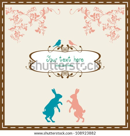 Vintage floral frame with hare. - stock vector