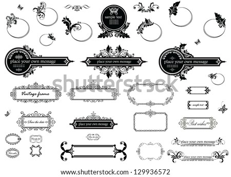 Vintage floral frames and title (black and white) - stock vector