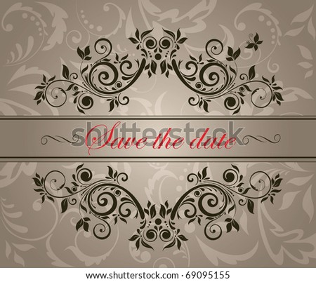 Vintage floral heading - stock vector