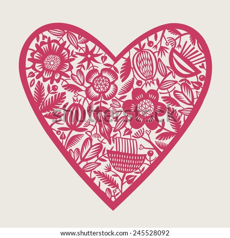 Vintage floral heart design - stock vector