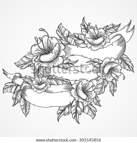 Vintage floral highly detailed hand drawn bouquet of flowers and ribbon banner in black and white. Victorian Motif, tattoo design element. Bouquet concept art. Isolated stock vector illustration - stock vector