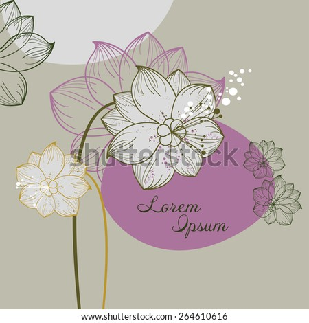 vintage floral illustration of blooming flowers - stock vector