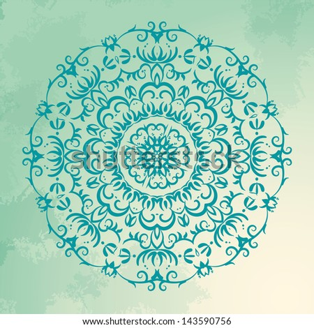 Vintage Floral ornament, circle pattern - stock vector