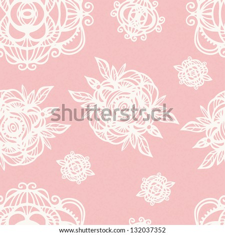 Vintage floral pink seamless pattern with white flowers - vector - stock vector