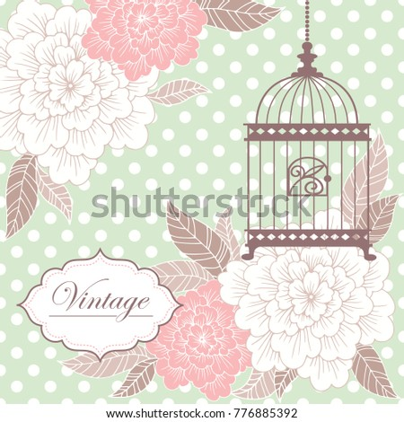 Vintage floral romantic hand drawn vector background, template for invitation, greeting card.