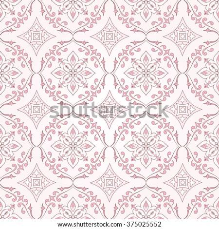 Vintage floral seamless floral pink texture.  Element for design. Ornamental backdrop. Ornate floral decor for wallpaper. Traditional decor on pink background. - stock vector