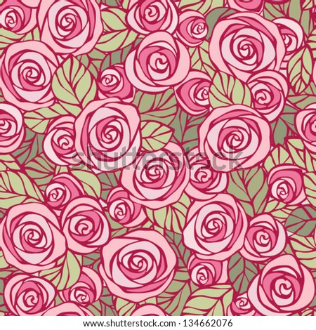 Vintage floral seamless pattern. EPS8 vector. Easily editable, objects in the center not cut, every flower and leaf is a separate group. - stock vector