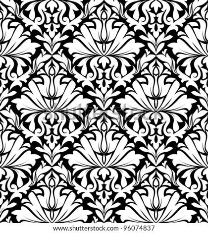 Vintage floral seamless pattern in white and black colors for textile or wallpaper design. Jpeg version also available in gallery. - stock vector