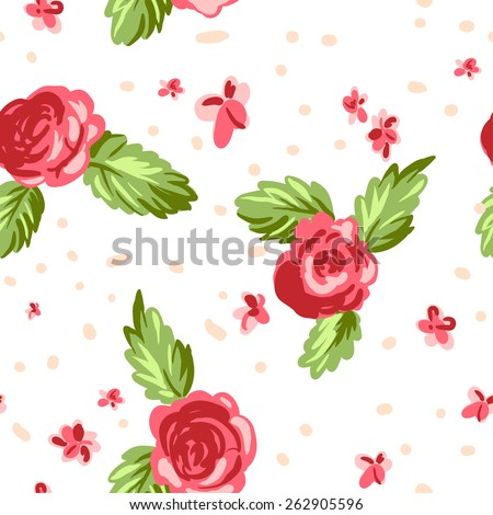 Vintage floral seamless pattern on white background. Hand drawn ethnic illustration. - stock vector