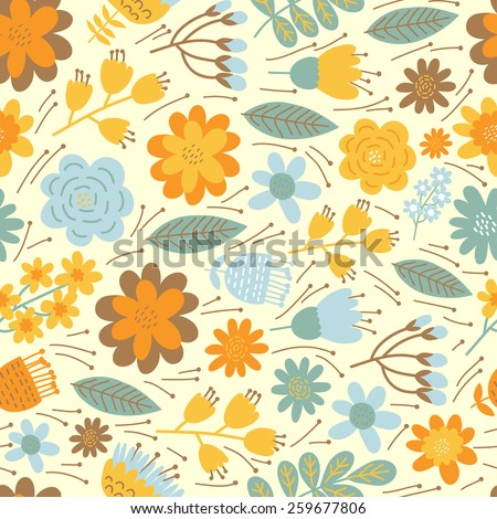 Vintage floral seamless pattern. Vector background.