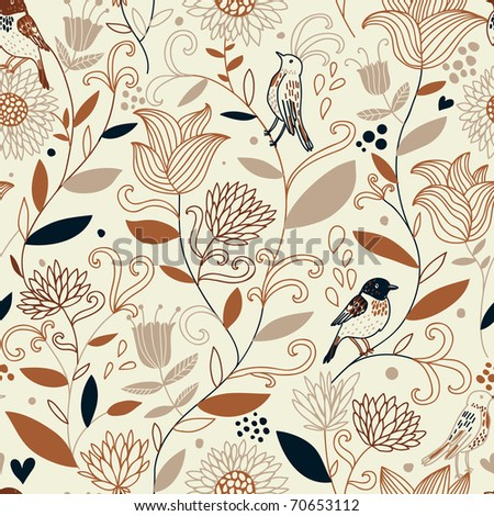 Vintage floral seamless pattern with birds - stock vector