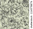 Vintage floral seamless pattern with hand drawn roses - stock