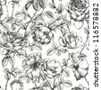 Vintage floral seamless pattern with hand drawn roses - stock photo