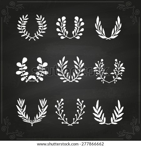Vintage floral set of wreaths and laurels. Vector hand painted illustration on chalkboard.  - stock vector