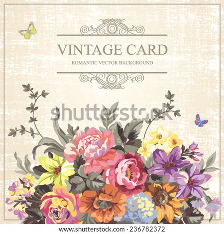 Vintage floral vector card with bright flowers on a old paper background  - stock vector