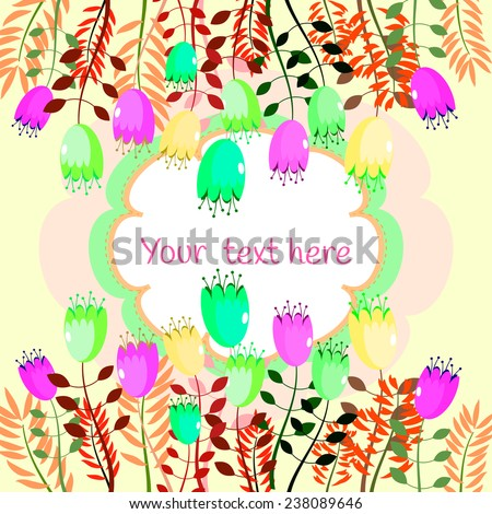 Vintage floral vector card with colorful summer garden flowers. Bright colorful tulips and branches. Birthday party card. Wedding invitation.