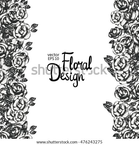 Vintage Floral Vector Frame Black And White Hand Drawn Rose Border