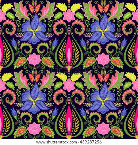 Vintage floral wallpaper with pansy - stock vector