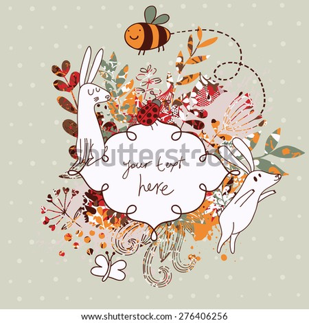 Vintage floral wedding invitation with cute rabbits. Sweet vector card. Ideal for any types of invitation in cute cartoon style - stock vector