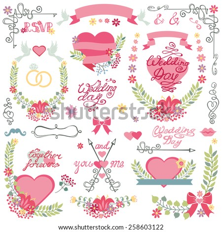 Vintage floral wedding set for invitations card,greeting,RSVP, love design template.Floral wreath,bouquet,ribbon and heart, swirls corner, headline.Cute wedding Vector decor. - stock vector