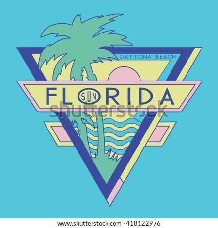 Vintage Florida surf typography, t-shirt graphics, vectors - stock vector