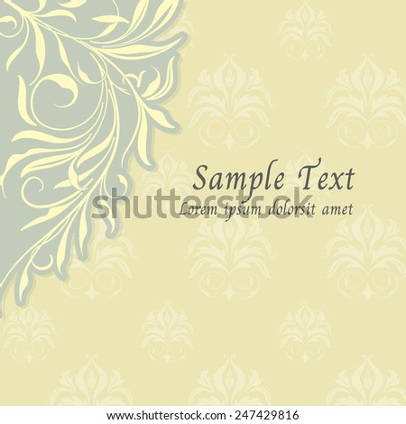 vintage flourish background invitation card,Vector illustration