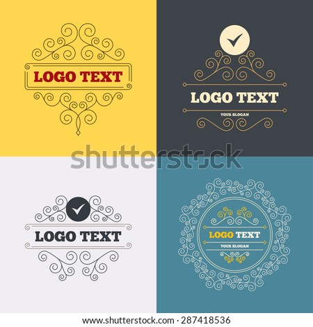 Vintage flourishes calligraphic. Check sign icon. Yes symbol. Confirm. Luxury ornament lines. Vector - stock vector
